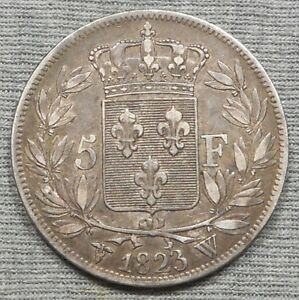 Nice 1823 W France 5 Francs Silver Coin - KM# 711.13