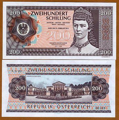 Austria, 200 Shillings, 2015 Private Issue, UNC > Elisabeth Eugenie