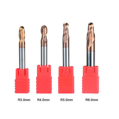 Radius 3mm-6mm Ball Nose Carbide End Mill Set Tiain Coat 2 Flute Cnc Cutting Bit