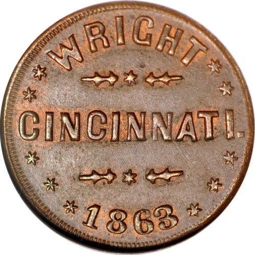"1863 CWT Cincinnati, OH ""Wright, Dry Goods"" F-165GR-1a NGC MS63BN #4-093"