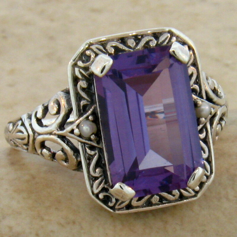 COLOR CHANGE LAB ALEXANDRITE PEARL ANTIQUE DESIGN .925 STERLING SILVER RING,#461