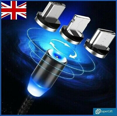 Universal Magnetic Charger Cable 3in1 Multi USB Charging Android Phones iPhone