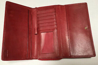 COACH Vintage Red Leather Card Coin I.D. Case Checkbook Organizer Wallet