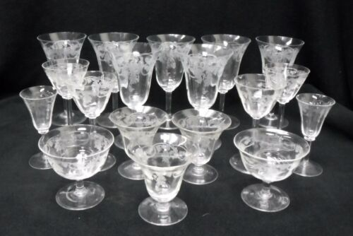 Unknown Mfg crystal ETCHED THISTLE pattern 18-piece LOT - water wine cocktail +