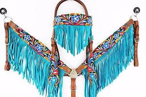 Handmade Turquoise Fringe Tooled Leather western tack set. Cob. Gatton Lockyer Valley Preview