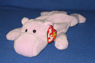TY HAPPY the HIPPO BEANIE BABY  - MINT with MINT TAGS (PRICE STICKER)