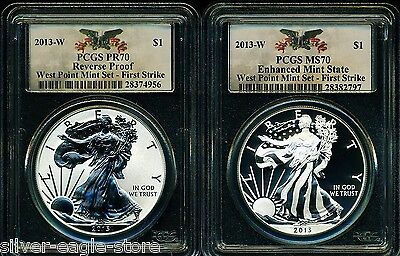 2013 W PCGS PR70 MS70 FS REVERSE PROOF & ENHANCED SILVER EAGLE WEST POINT SET EL