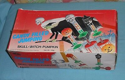 vintage Halloween CANDY FILLED JUMPING SKULL WITCH PUMPKIN display BOX (only)