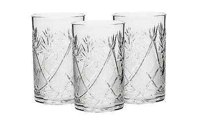 3 Russian CUT Crystal HOT TEA Glasses for Metal Glass Holder Podstakannik