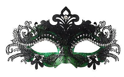 Classy Layer Filigree Masquerade Mask With Clear Rhinestones Green/Black
