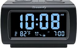 Digital Alarm Clock Radio FM USB Charging 1.2 Inch Blue Digit Display Snooze