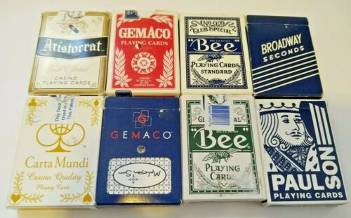 8 used Vegas Casino Playing cards  Bee Gemaco Paul Son Aristottat Carta Mundi