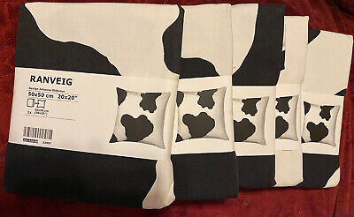 "IKEA Cushion Cover Black White Ranveig Cow 20x20"" Pillow Covers/ Lot of 5 New"