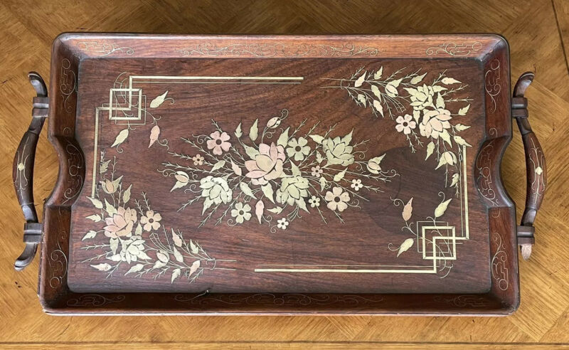 Vintage Antique French Art Nouveau Wood Tray Brass & Copper Inlay
