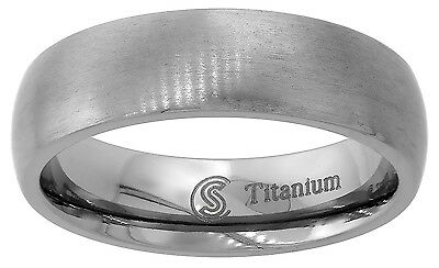 Titanium Men Women Wedding Band Thumb Ring Brushed Finish Domed Comfort Fit 6mm