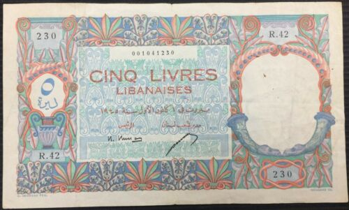 Lebanon Libanaise. 1945, 5 Livres 5 Pounds, P-49a Outstanding Note Ex Rare