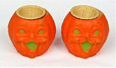 Vintage Paper Mache Halloween Decorations (2 VINTAGE PAPER MACHE HALLOWEEN PUMPKIN NUT / CANDY CUPS OR CANDLE HOLDERS)