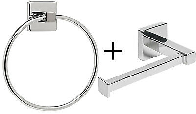 Chrome Square Bathroom Toilet Roll Holder & Towel Ring Set, Fittings Included