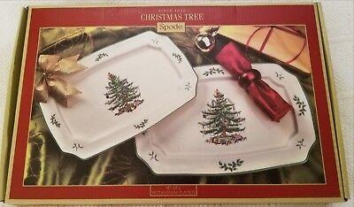 NIB SPODE CHRISTMAS TREE Rectangular Serving plates dish Platters * Set of 2 ()