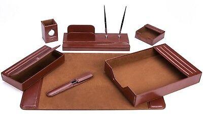 Majestic Goods 7 Piece Brown Leather Desk Set
