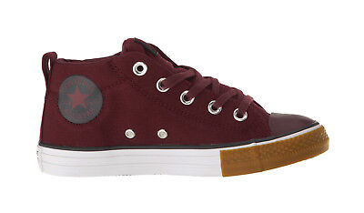 Kids Girls Converse (CONVERSE Street Mid Burgundy Red Canvas Gum Sneakers Kids Youth Boys Girls)