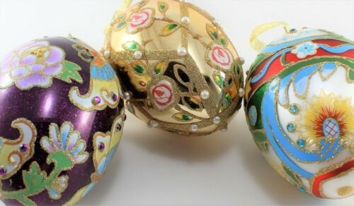 Set of JOAN RIVERS Glass EGG Ornaments 2009 MINT Faberge Egg with Silk Case