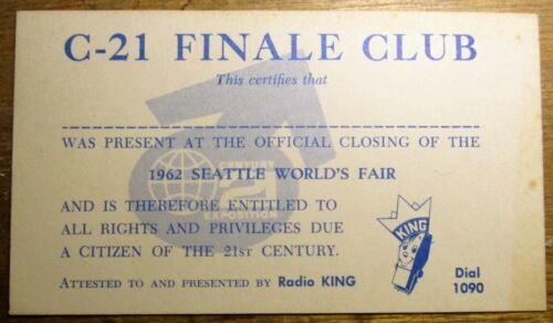 ORIGINAL 1962 Seattle World