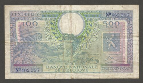 Belgium 500 Francs 1.2.1943; VG+; P-124; L-B572a; Government in Exile; WWII