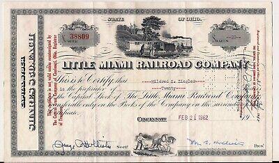 - Stock certificate Little Miami Railroad Comp. 1962 Ohio