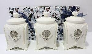 NEW Set of 3 Ceramic Tea/Coffee/Sugar Canisters 18x10x10cm CLAS0012