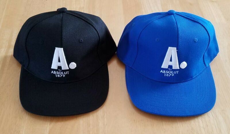 (2) NEW- ABSOLUT VODKA LOT, Snapback Cap, Adjustable Strap, 1 Blue, 1 Black