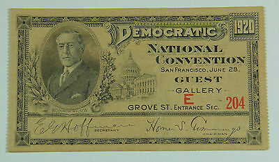 1920 Democratic National Convention Ticket San Francisco FDR Vice President