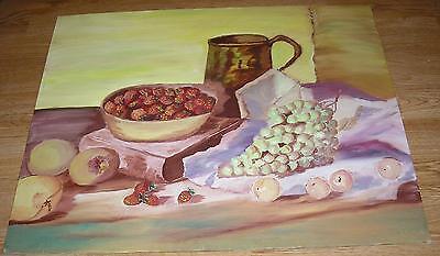 VINTAGE TEA POT EGGS APPLES BREAD APPLES FRUIT KITCHEN BOOK STILL LIFE PAINTING