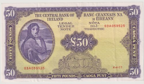 Ireland Republic 50 Pounds last date of issue 1977 Lady Lavery P68c good VF