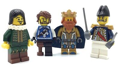 LEGO LOT OF 4 CASTLE MINIFIGURES KING KNIGHT NEXO COLONIAL SOLDIERS