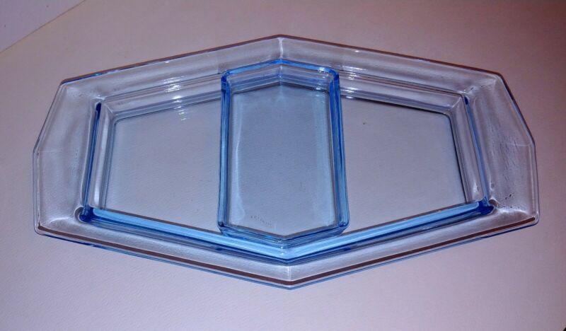 EXTREMELY HTF FOSTORIA FAIRFAX AZURE BLUE SERVICE TRAY WITH LEMON INSERT