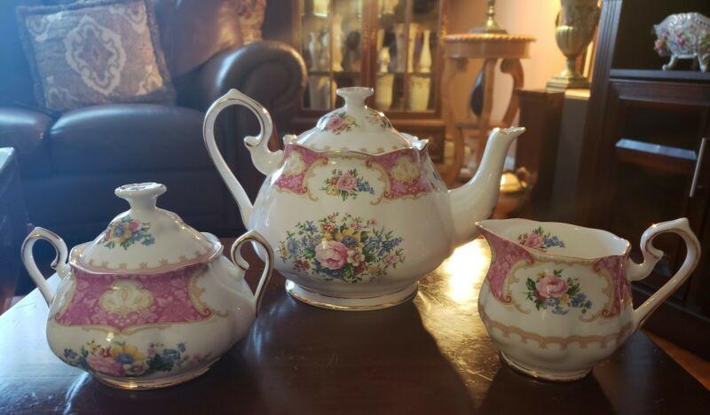 """Vintage Royal Albert """"Lady Carlyle"""" Porcelain Bone China 5pc.Teapot Set~MINT!"""