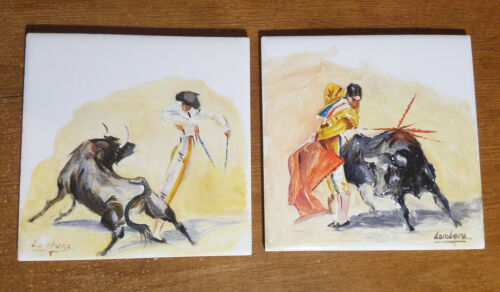 2 Vintage Hand Painted Ceramic Tiles, Mexico Bull Fighter, Artist Signed Lombera