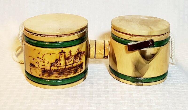 "Vintage Double Wood Leather Hide African Folk Bass Drum 4""  x 4"" each Handmade"