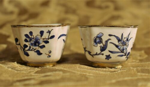 Pair of 19th c. Enameled Copper Qing Dynasty Blue and White Quadrilobed Teacups