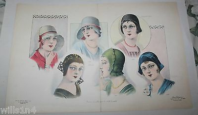 French Gaston Drouet Large Fashion Print for Women's Hats 1920 vivid color