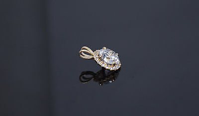 14K Yellow Gold Solitaire Halo Charm Necklace Round Diamond Pedant 1.25ct