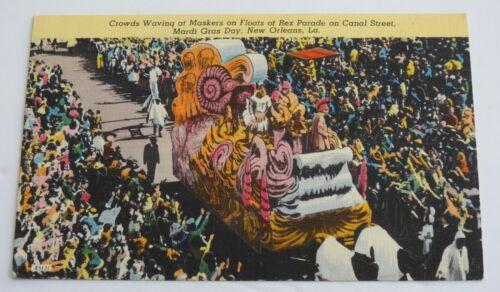 vintage MARDI GRAS REX PARADE NEW ORLEANS postcard Louisiana maskers Canal St