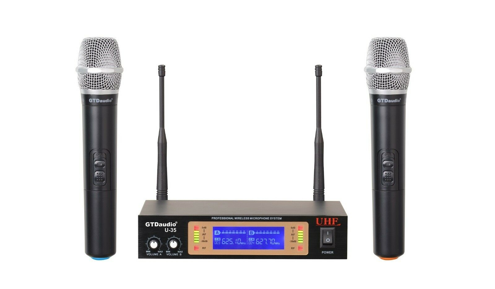 gtd audio 2ch uhf handheld wireless microphone mic system new 35h. Black Bedroom Furniture Sets. Home Design Ideas