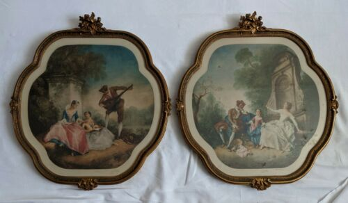 Antique Victorian French Lithos in Exquisite Polychrome Gesso Frames