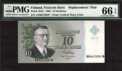 Finland 10 Markkaa REPLACEMENT / STAR 1963 Pick-104a* GEM UNC PMG 66 EPQ