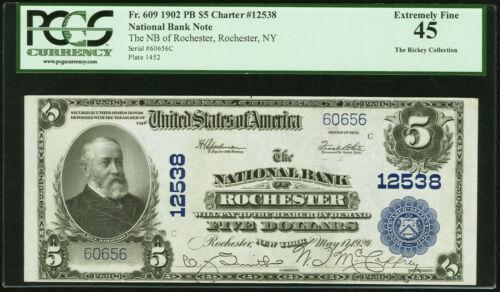 $5 1902 NBN, PCGS-45, Fr. 609, Rochester, NY