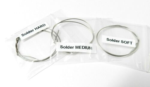 """Silver Solder Wire Assorted Pack 3 Pieces 12"""" Each Soft Medium & Hard Jewelry"""