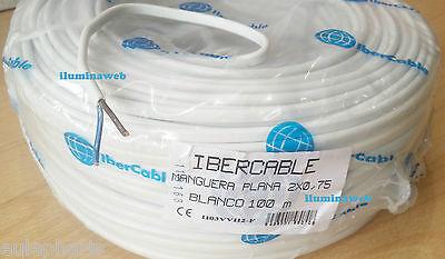 Corte x metro, 2 metros Manguera plana blanca 2x0,75mm,Cable electrico 2 polos