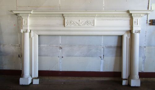 HUGE 9 FT ANTIQUE CLASSICAL STYLE MANTLE